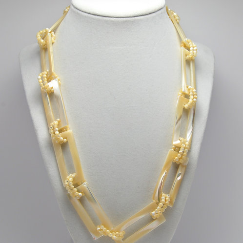 Rectangle Chain Pearl Necklace