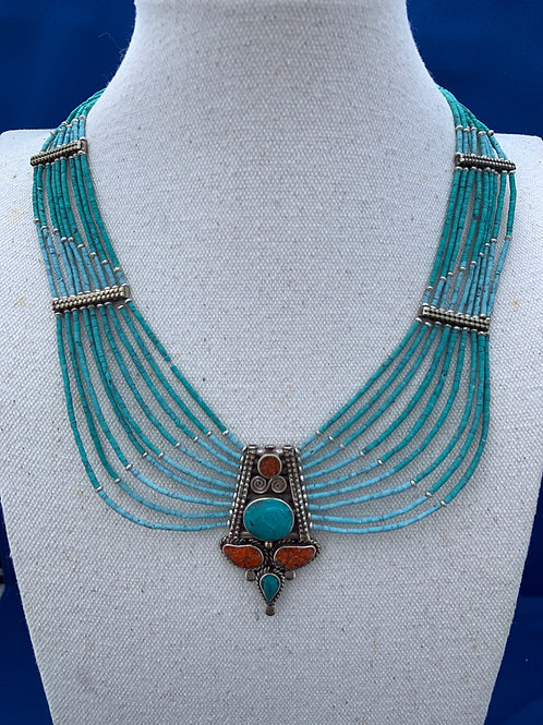 Turquoise heishi tribal necklace.