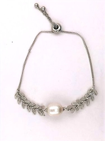 Freshwater Pearl with leaves shaped etched Sterling Silver