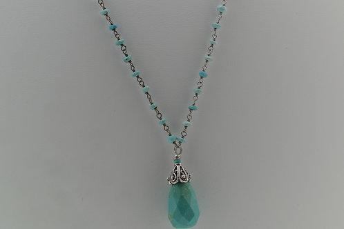 Turquoise Beaded Teardrop Necklace