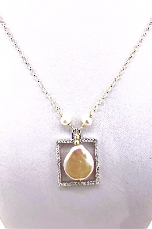 Freshwater Baroque Pearl on Sterling Silver/CZ Frame
