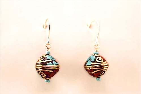 Handmade wire & inlaid bead with 14Kt Gold Filled