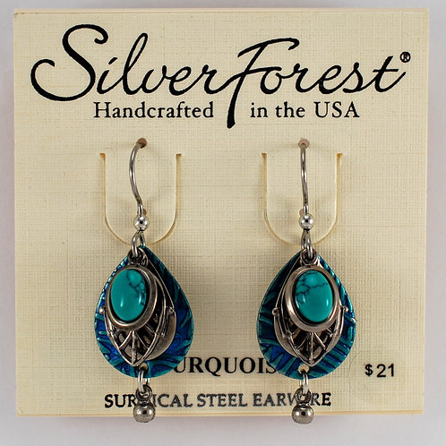 Silver Forest Turquoise Quadruple Layer Earrings