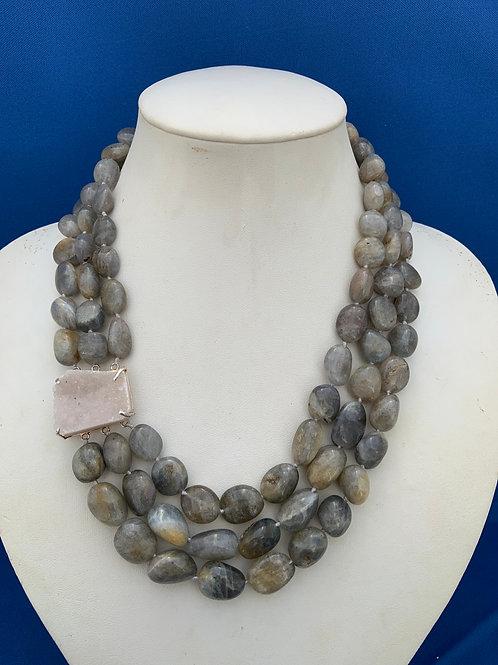Labradorite w/Quartz Druzy and Sterling Silver