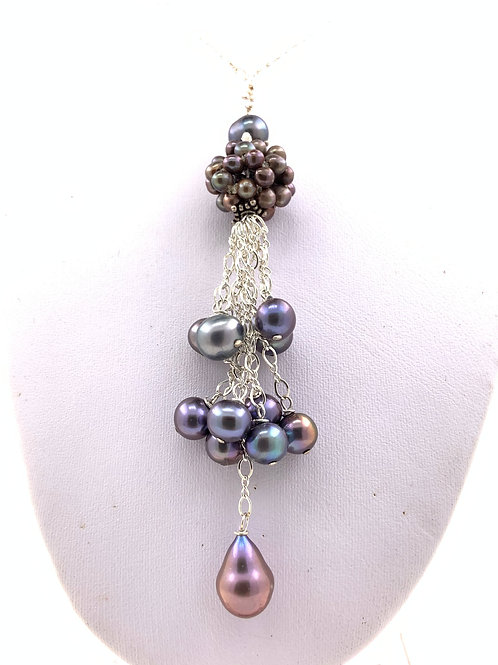 Irradiant Grey Pearls in Assorted Clusters with Sterling Silver