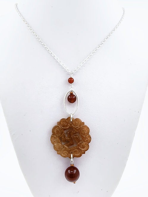 Carved Red Agate with Carnelian on Sterling Silver