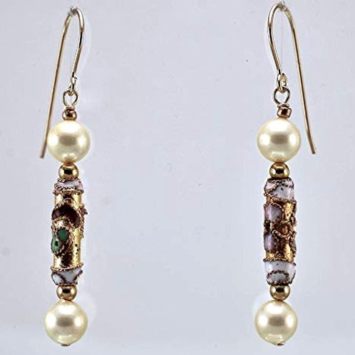 Freshwater Pearl and cloisonne with 14KT Gold Filled