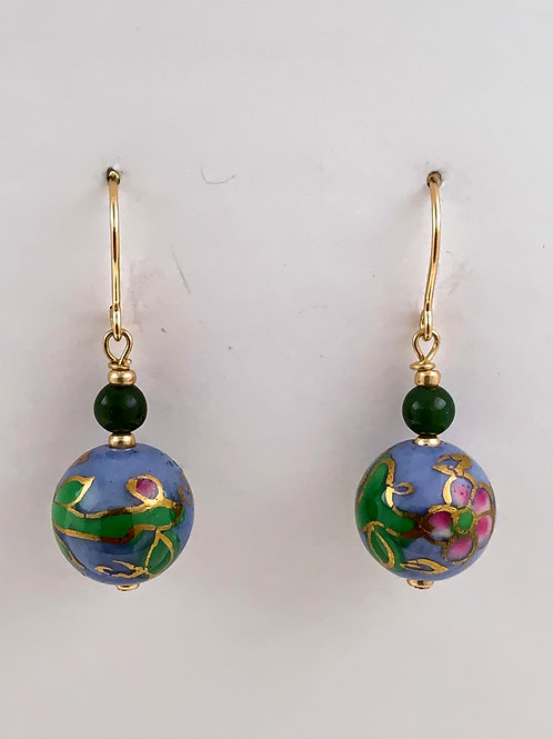 Cloisonne and Jade on Sterling Silver