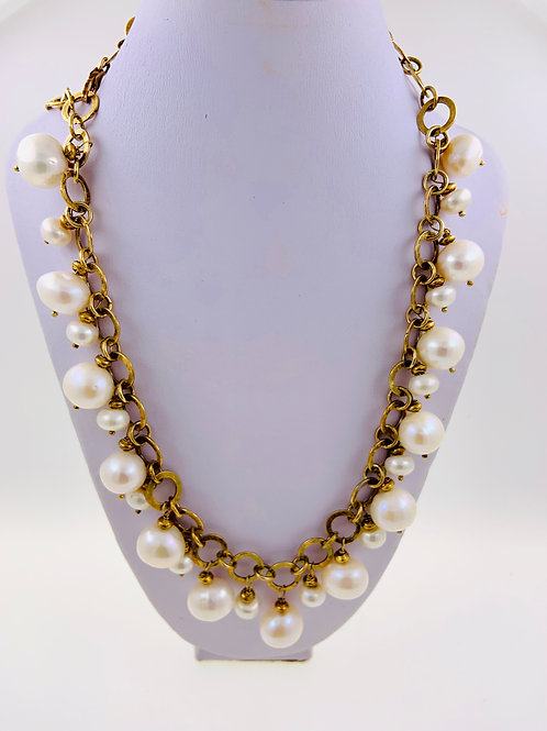 Freshwater Round Pearls on Vermeil Chain