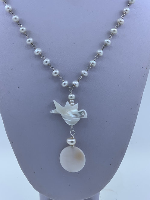Mother of Pearl Fetish on Freshwater Pearl and Sterling Silver