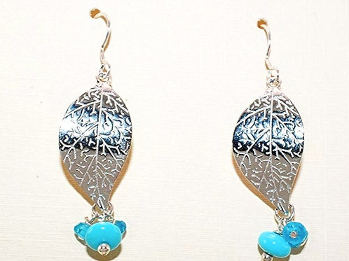 Sleeping Beauty Turquoise on Sterling Silver Leaf