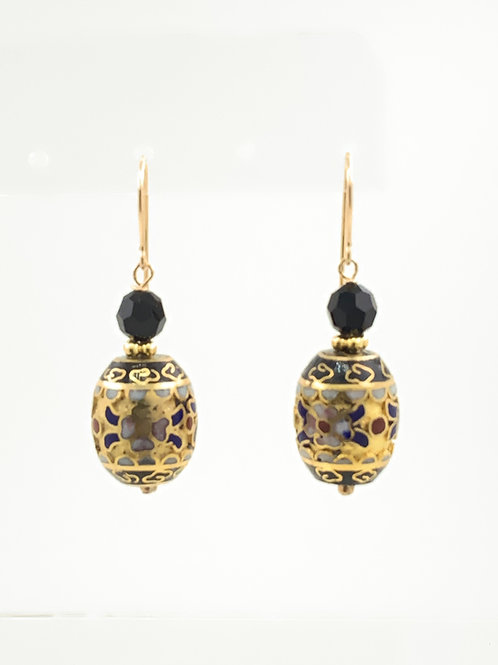 Ornate Cloisonne with Black Onyx and 14K G/F