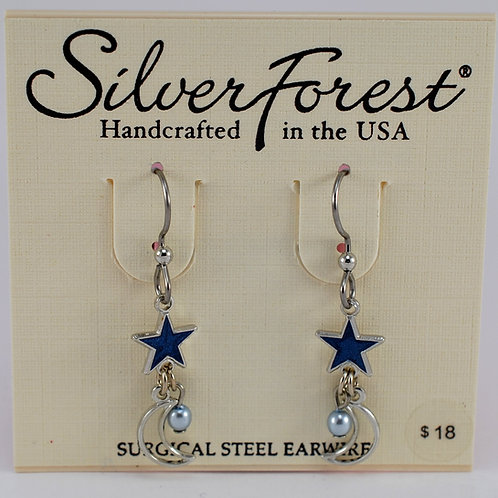 Silver Forest Moon and Star Earrings