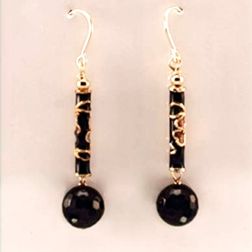 Cloisonne and faceted Black onyx in Gold Filled