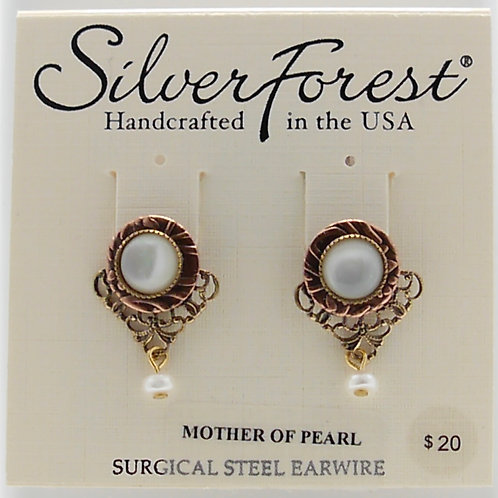 Silver Forest Mother of Pearl Stud Earrings