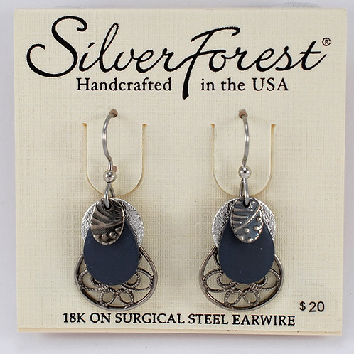 Silver Forest Quadruple Layer Earrings