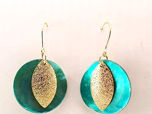 Shell and Glittery Brushed Alloy with 14KT Gold Filled