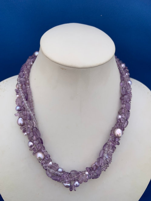 Amethyst and Freshwater Pearl with Sterling Silver