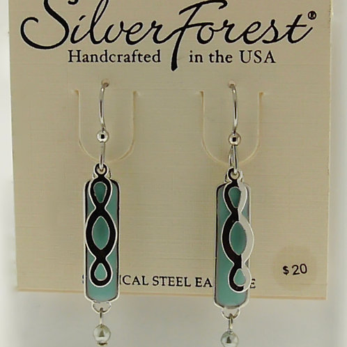Silver Forest Teal Earrings