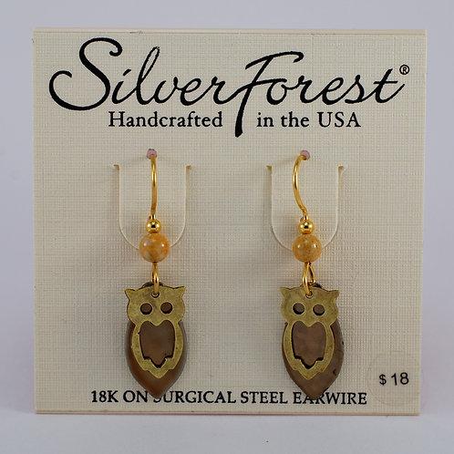 Silver Forest Owl Earrings