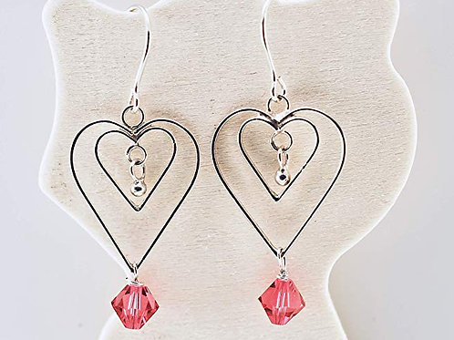 Sparkling Swarovski Crystal on Sterling Silver hearts