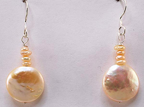 Freshwater Peach Pearls with Sterling Silver