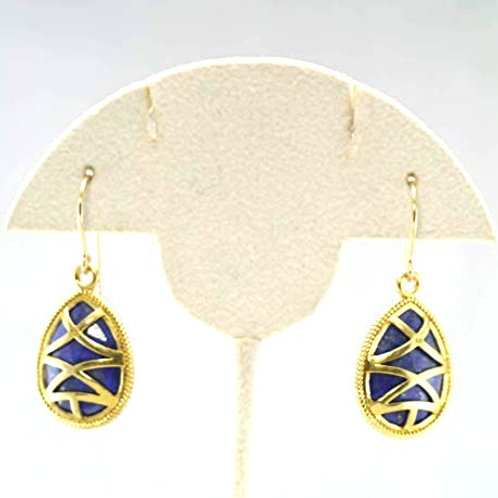 Lapis Lazuli Vermeil mounted 14k G/F Earrings