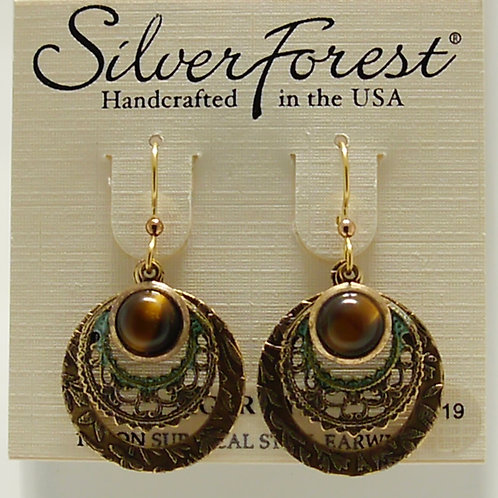 Silver Forest Tiger's Eye Layered Circle Earrings
