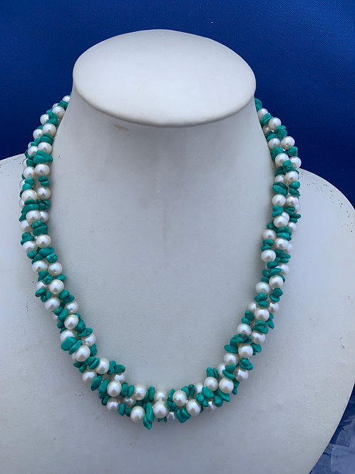 Turquoise and Freshwater Pearl with Sterling Silver.