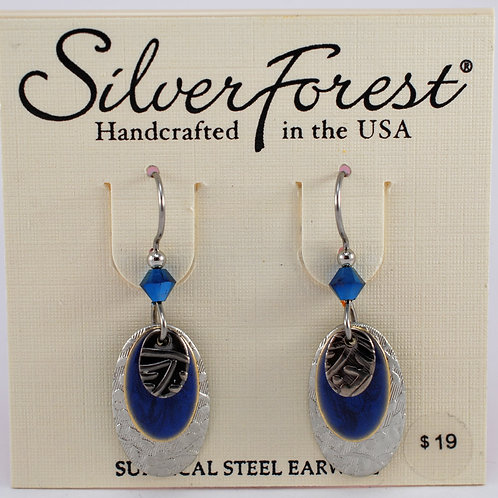 Silver Forest Blue Accent Triple Layer Earrings