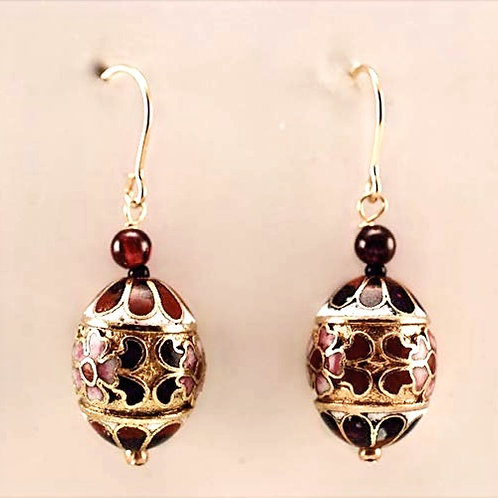 Cloissonne ovals and Garnet in 14kt Gold Filled