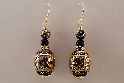 Ornate Cloisonne Black Onyx and 14KT Gold Filled