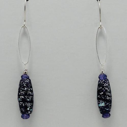 Dichroic Bead and Swarovsky Crystal Earrings