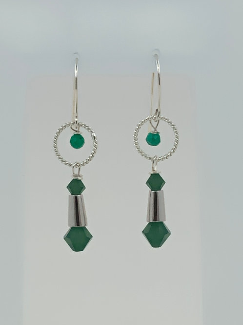 Swarovski Crystals and green Onyx on Sterling Silver