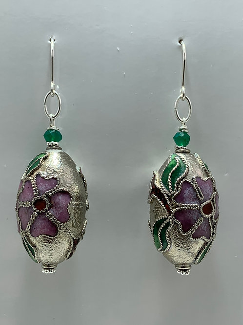Cloisonne ovals, Faceted Green Onyx on Sterling Silver