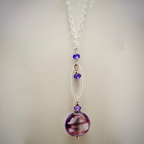 Venetian Bead and Swarovsky Crystal Necklace