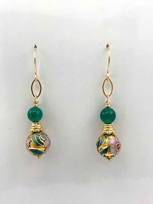 Cloisonne and Green Onyx w/14K G/F