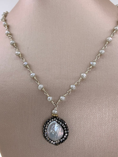 Handmade Pearl Chain  and Pendant in Sterling Si