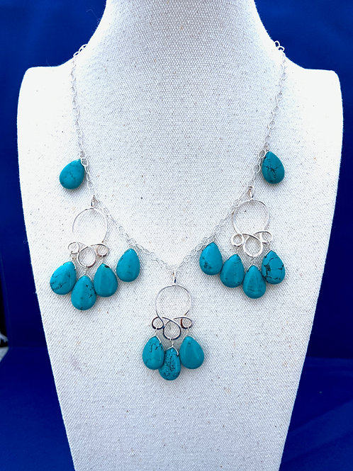 Turquoise Teardrops on Sterling Silver