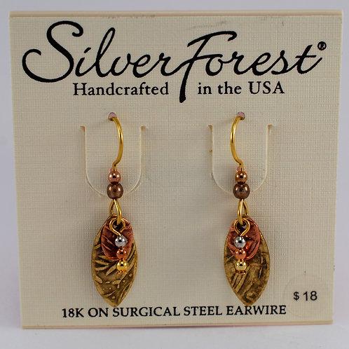 Silver Forest Bronze/Golden Triple Layer Earrings