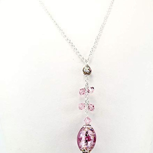Venetian glass floral oval with Swarovski matching crystals