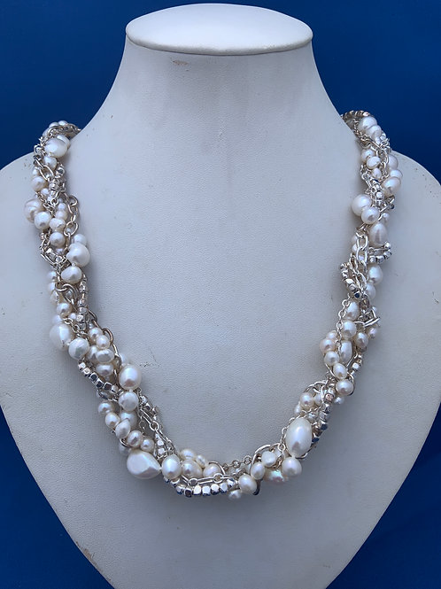Freshwater Pearls entwined on Sterling Silver Chains