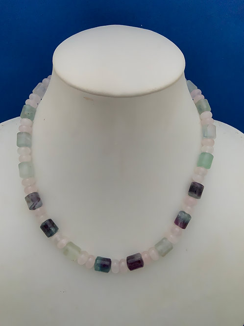 Rose Quartz and Fluorite with Sterling Silver