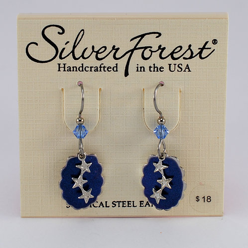 Silver Forest Stars on Clouds Earrings
