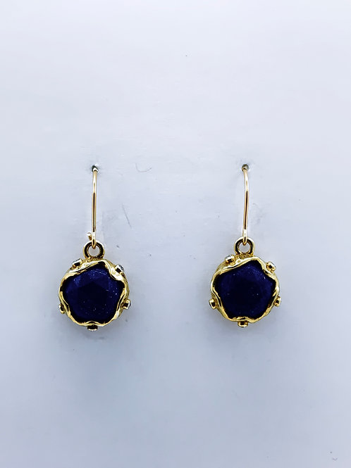 Faceted Lapis on Vermeil w/14K G/F