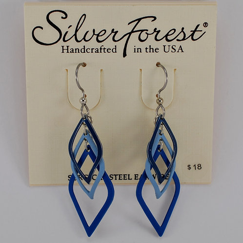 Silver Forest Layered Shades of Blue Earring