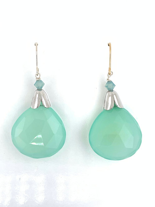Faceted Chrysoprase with  Sterling Silver