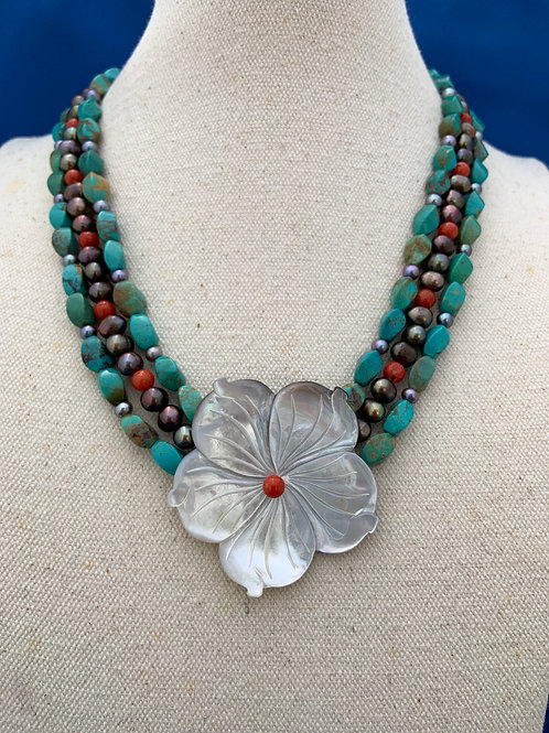 Mother of Pearl Flower on Turquoise Coral and Pearls