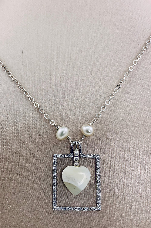 Framed Mother of Pearl Heart on Sterling Silver
