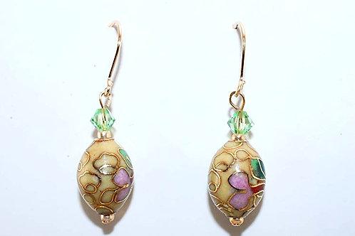 Floral Oval Cloisonne Swarovski & 14KT Gold Filled